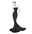 Woman in long evening dress vector image