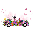 woman on vintage flower car vector image vector image