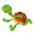 Cute turtle cartoon run vector image