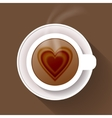 Cup of coffee isolated on brown background vector image