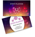 Template colorful business cards for event planner vector image