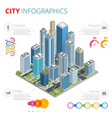 city infographics isometric city with vector image