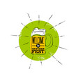 octoberfest flat icon green badge with rays mug vector image