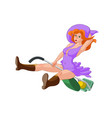 red hair witch in violet dress on a green vacuum vector image