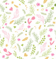 spring seamless pattern with colored flowers vector image