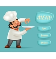 Menu Buttons Interface Chef Cook Serving Food 3d vector image vector image