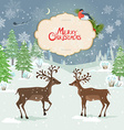 christmas card with deers in winter forest vector image