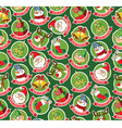 Seamless pattern with funny Christmas cartoon vector image