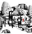 man among city drawn graphically stylized vector image