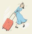 girl and baggage vector image