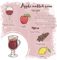 hand drawn of mulled apple wine recipe with list vector image