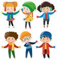 happy children in winter clothes vector image