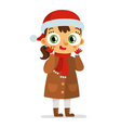 Happy girl in Santas hat isolated on white vector image