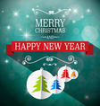 Merry Christmas and Happy New Year Retro Blue vector image vector image