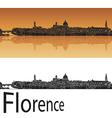 Florence skyline in orange background vector image