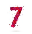Number seven 7 made from red hearts Love alphabet vector image