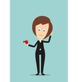 Business woman with fresh red apple fruit vector image vector image