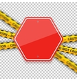 Road Red Stop Sign with Yellow Police Strip vector image