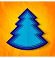 Blue paper christmas tree on orange background vector image