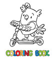 coloring book of little funny owl on the scooter vector image