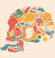 Figure skull of food collage vector image