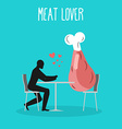 Meat lovers Lover in cafe Man and ham sits at vector image