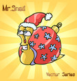 mr snail with christmas toys vector image