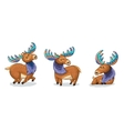 Set of cute cartoon hand drawn elks vector image