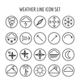 Weather line icon set vector image