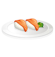 A plate with two sets of sushi vector image