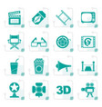 stylized cinema and movie icons vector image vector image