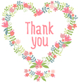 thank you floral heart wreath vector image