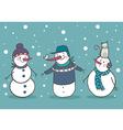 Set of 3 snowman vector image vector image