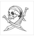 Pirate Skull in Headband with Cross Swords vector image