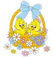 Easter basket with chicks vector image vector image