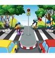 Children skateboarding across the road vector image