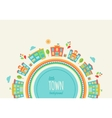 Little Town Background Made of Houses and Schools vector image