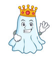king cute ghost character cartoon vector image