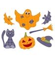 Halloween patchwork set vector image vector image