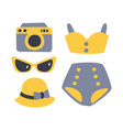 swimsuit with beach accessories beach and vector image