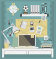 flat modern and stylish teal working place vector image