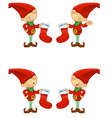 Red Elf Holding Stocking vector image