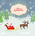 christmas card with santa claus in winter forest vector image