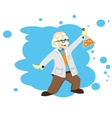 Cartoon scientist doctor professor with a flask vector image