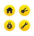 Home key icon Wrench service tool symbol vector image