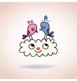 Cute love birds on cloud vector image