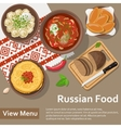 Russian food Flat Lay Style vector image