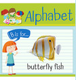 Flashcard letter B is for butterfly fish vector image