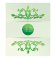 Label hello with green leaves vector image vector image