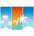 summer banners with palm trees and surfer vector image vector image